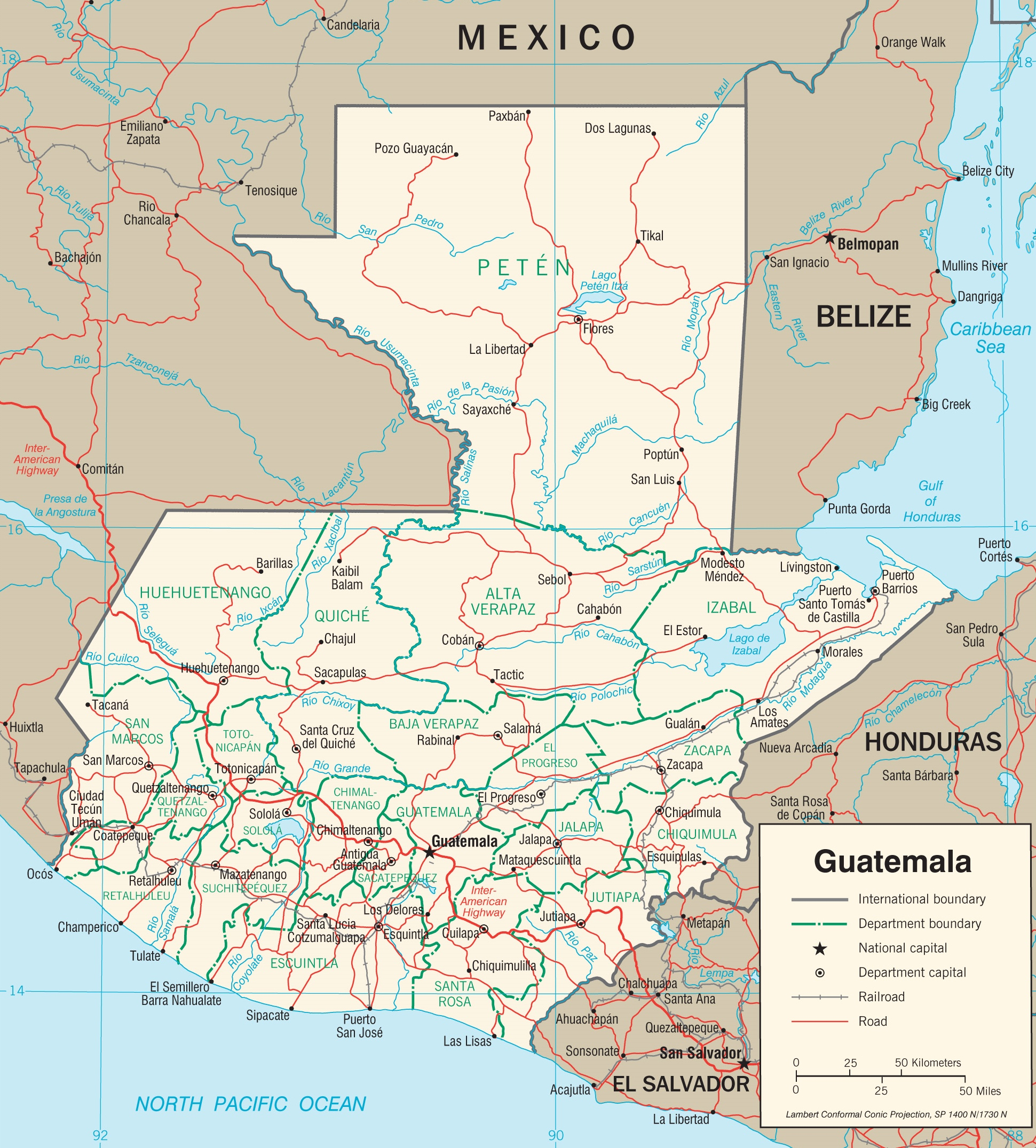 Guatemala Political Map - Political map of guatemala