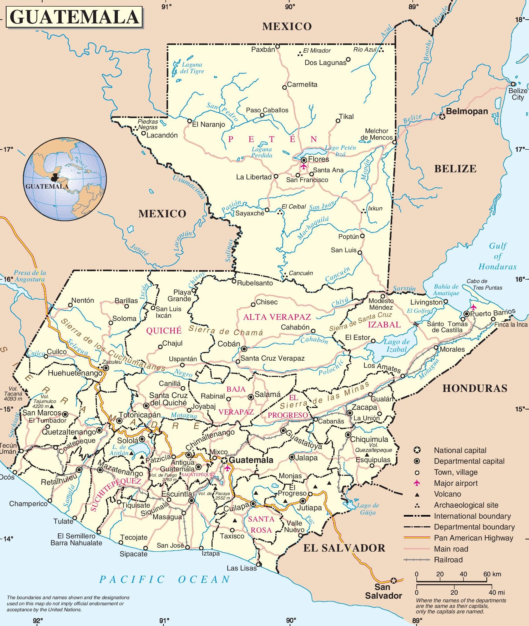 Guatemala Road Map - Guatemala map