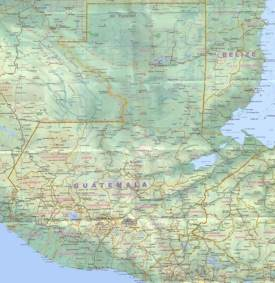 Large detailed map of Guatemala with cities and towns