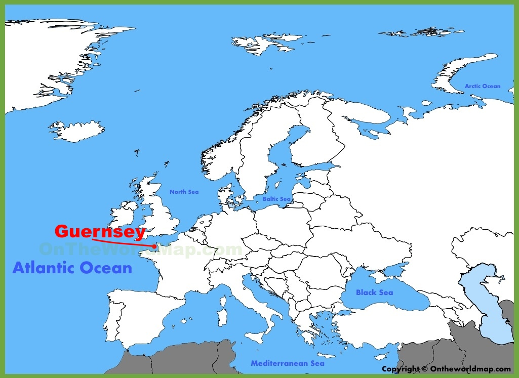 Guernsey location on the Europe map