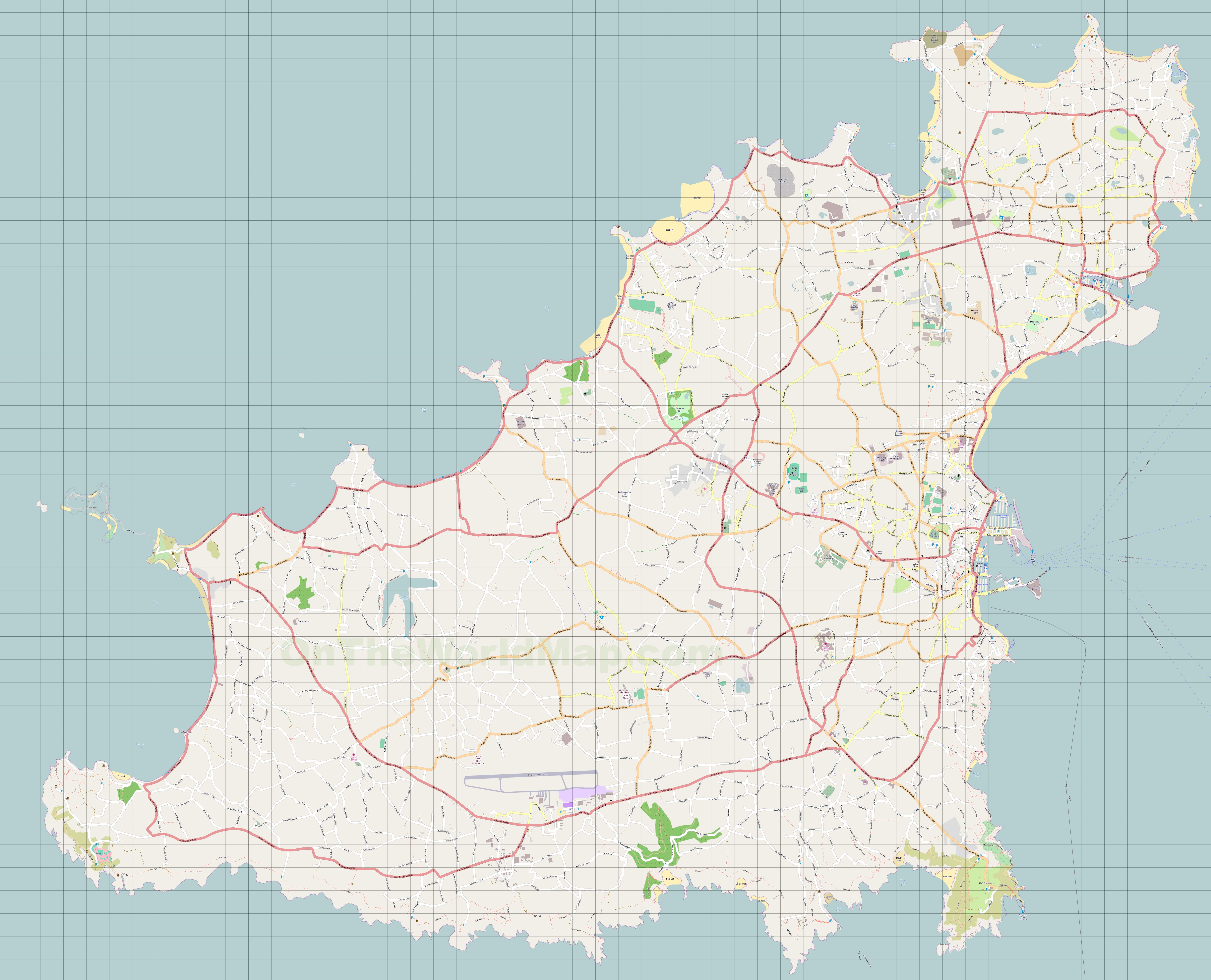 Map Of Guernsey Large detailed map of Guernsey