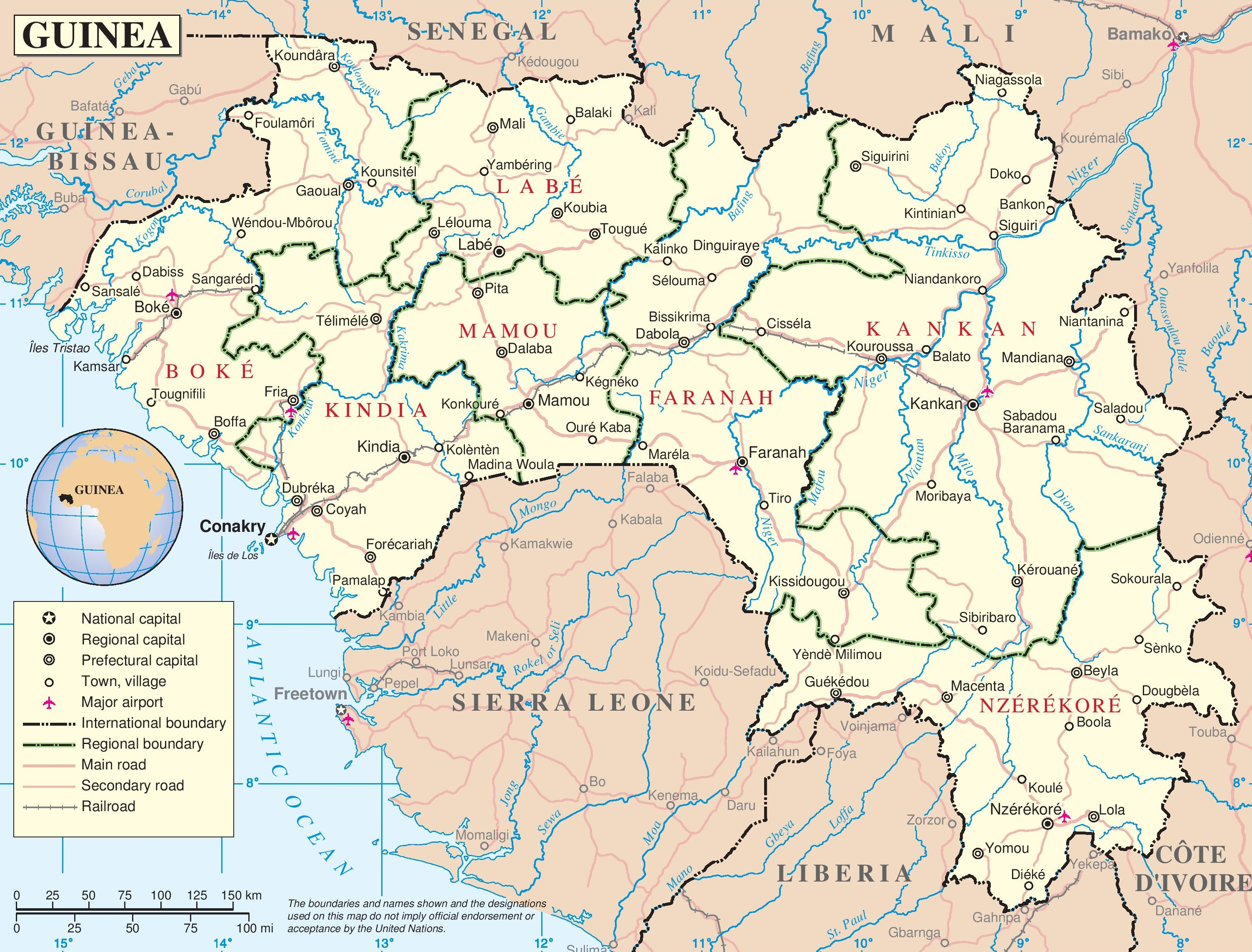 large detailed road map of guinea