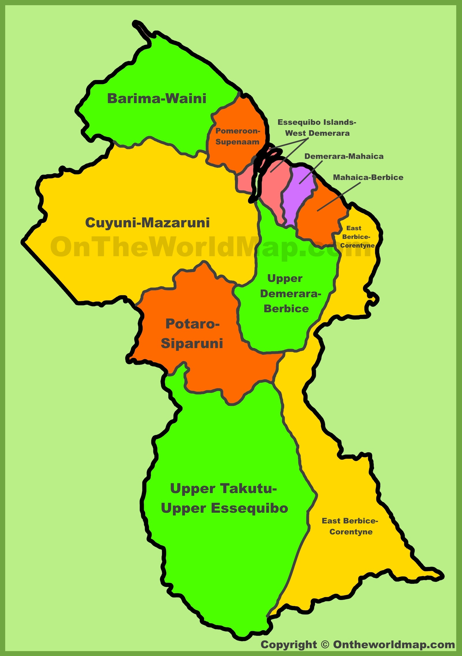 Administrative map of Guyana