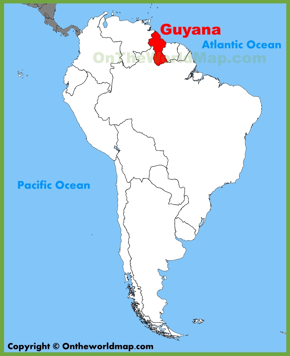 Where Is Guyana Located On The World Map.Guyana Location On The South America Map