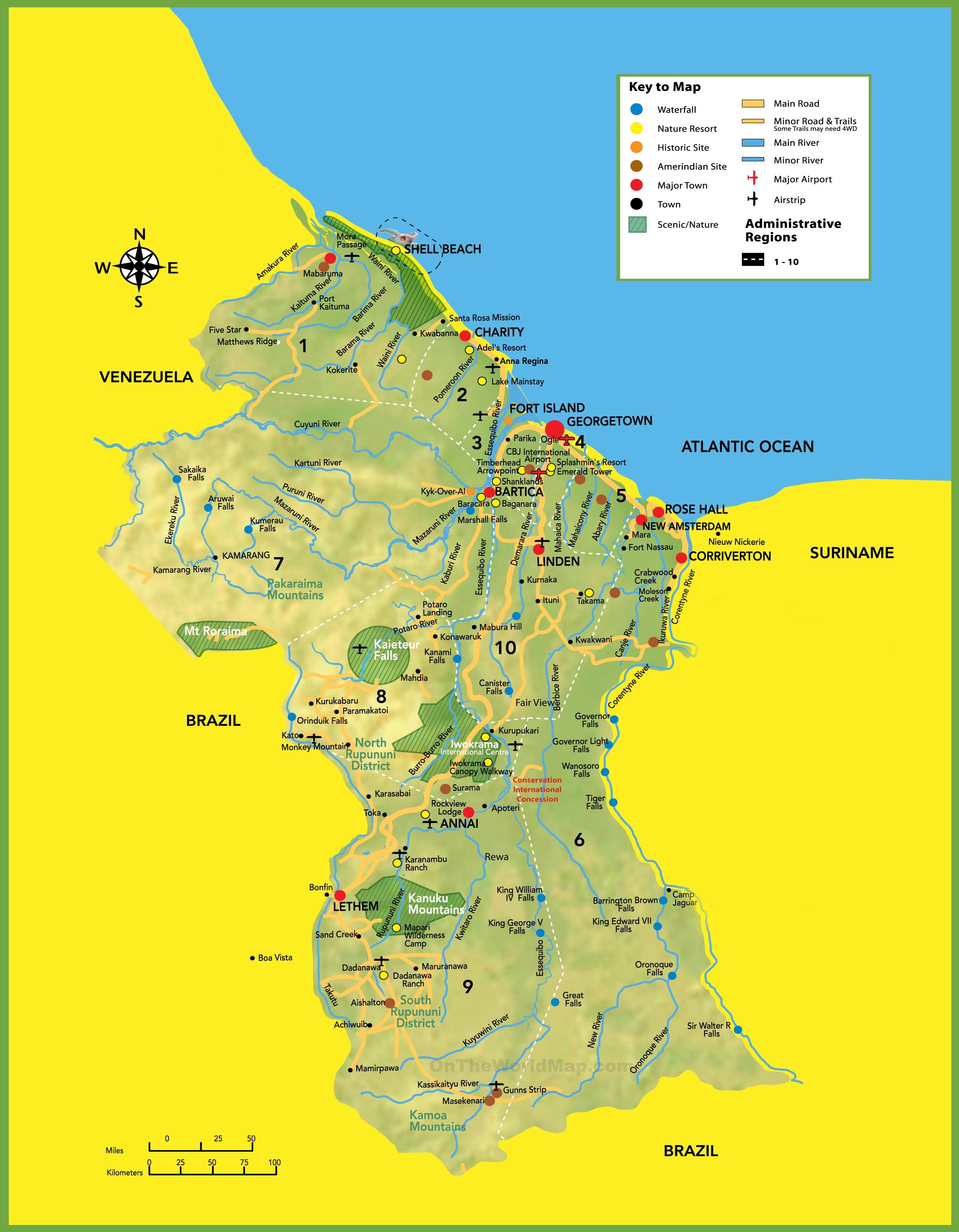 Map Of Guyana Large detailed tourist map of Guyana Map Of Guyana