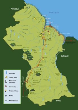 Travel map of Guyana