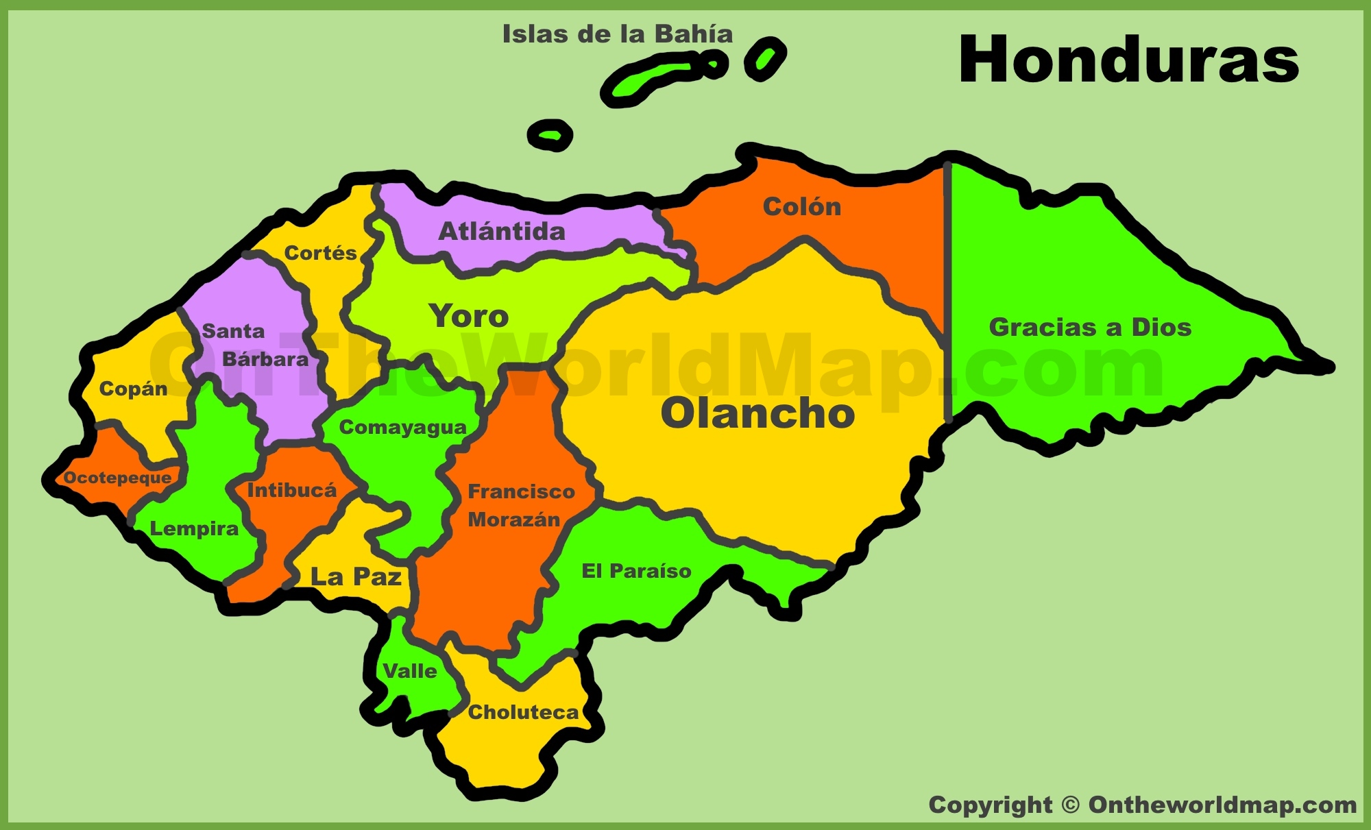 Administrative Map Of Honduras - Hondurus map