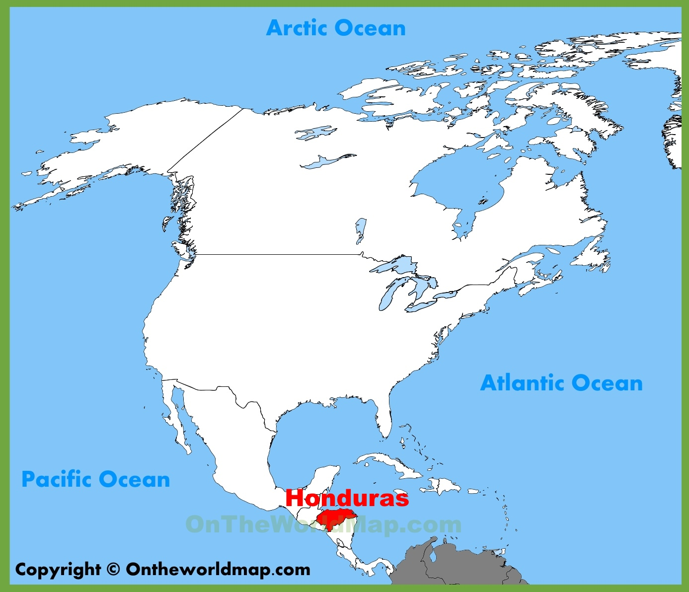 Honduras location on the North America map