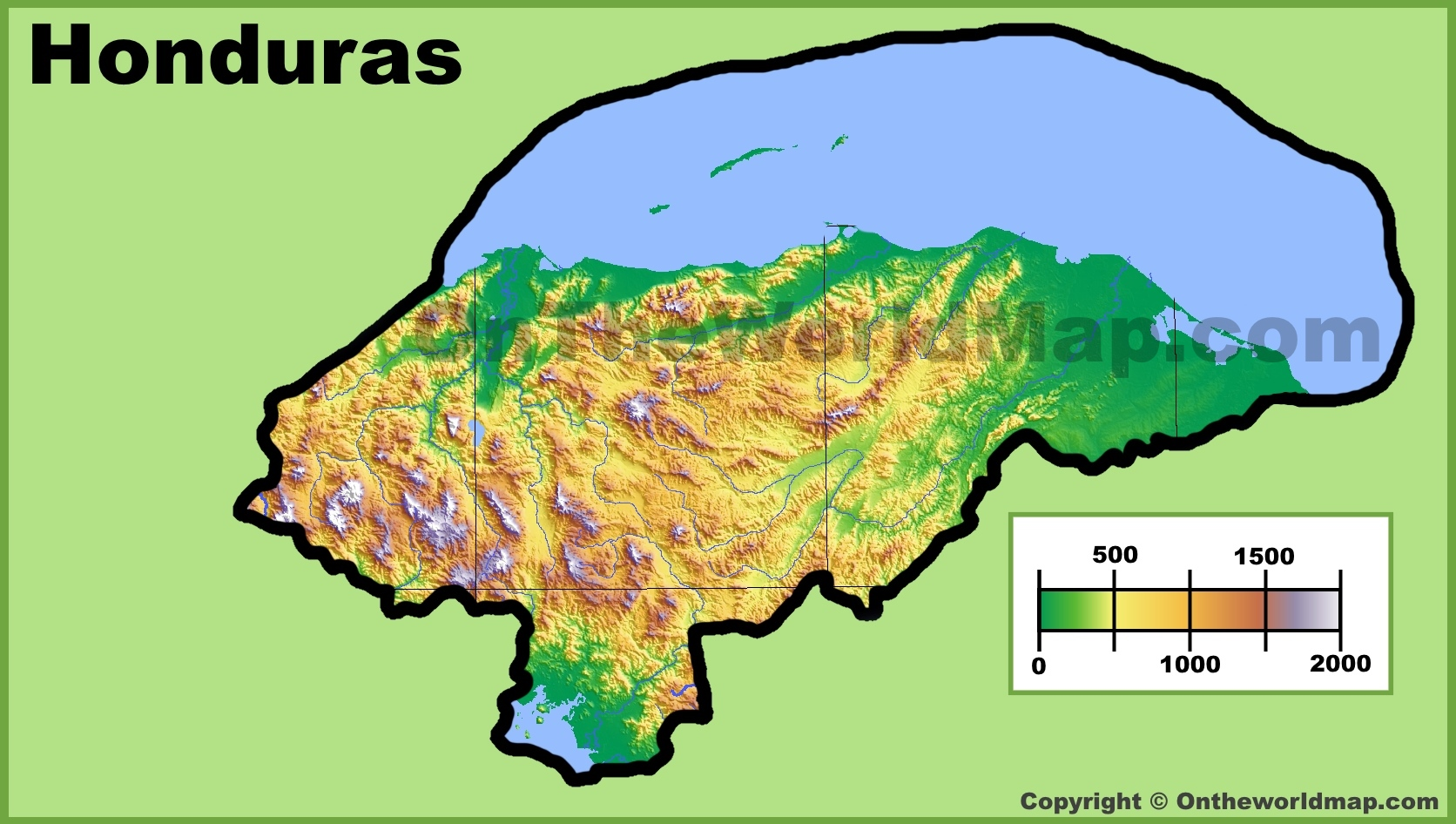 Honduras Physical Map - Hondurus map