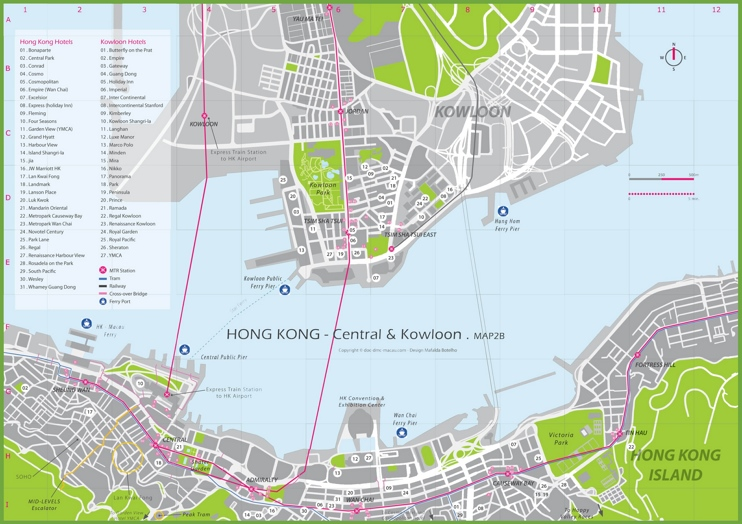 Hong Kong hotel map