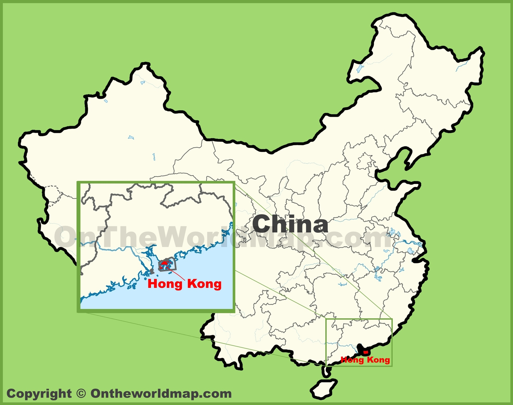 Map Of China And Hong Kong Hong Kong location on the map of China