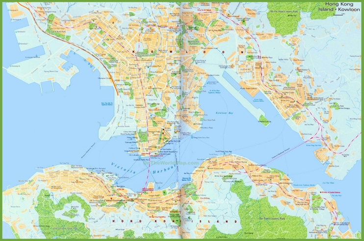 Large detailed map of Hong Kong