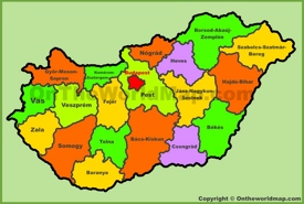 Administrative map of Hungary