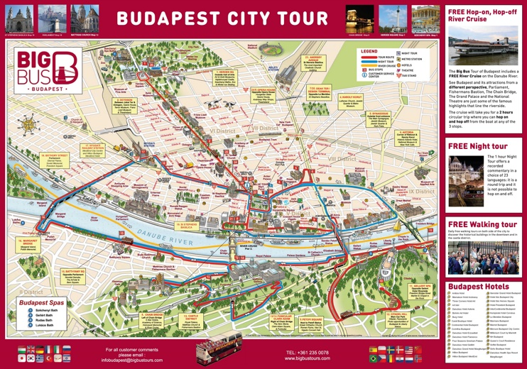 Budapest hotels and sightseeings map