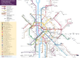 Budapest metro, tram and suburban railway map