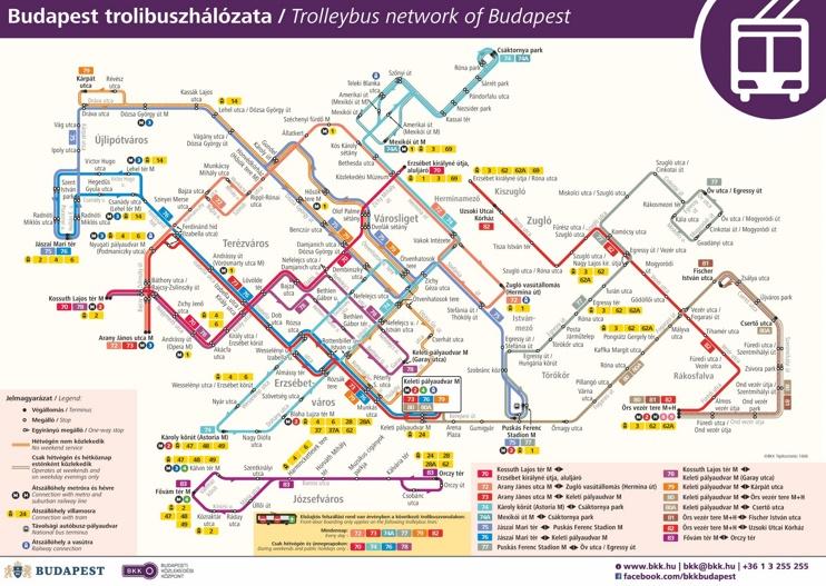 Budapest trolleybus map