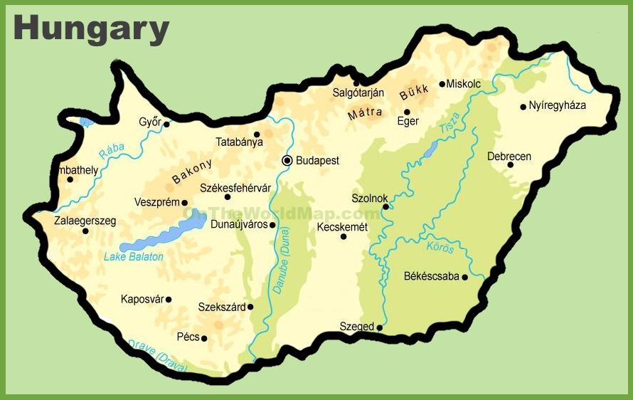Map Of Hungary Hungary physical map Map Of Hungary