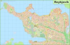 Large detailed map of Reykjavík