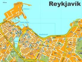 Reykjavík city center map
