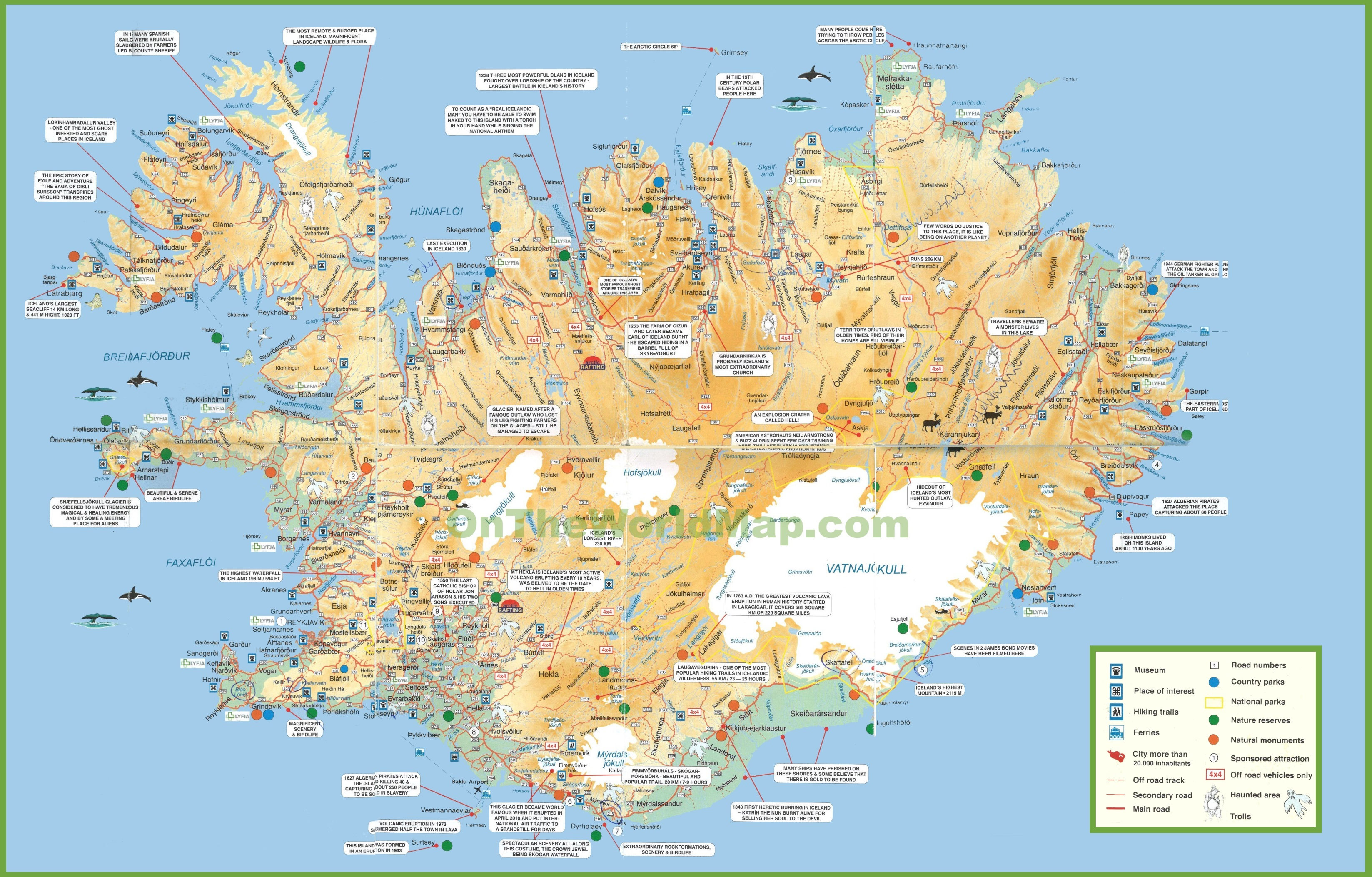 Iceland tourist map – Iceland Tourist Attractions Map
