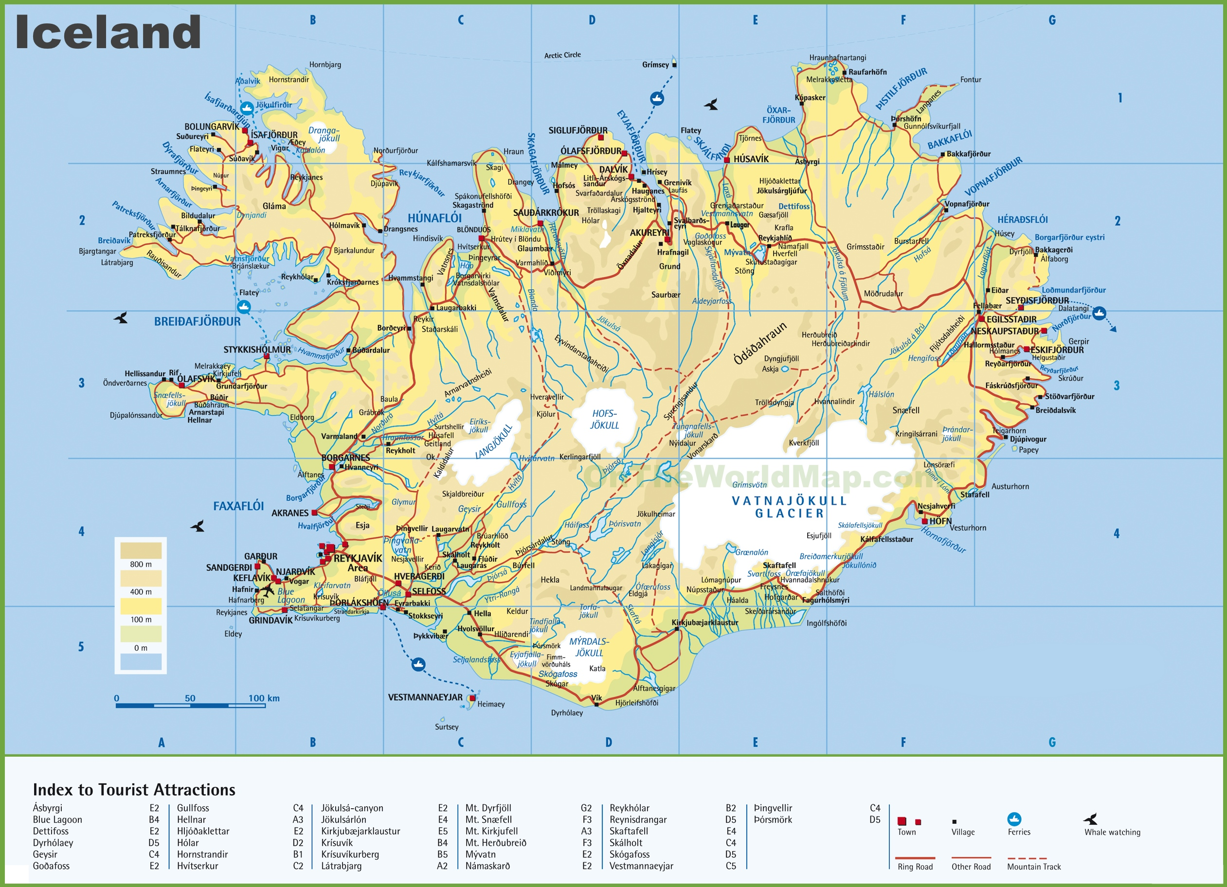 Large Detailed Map Of Iceland With Cities And Towns - Large detailed us map