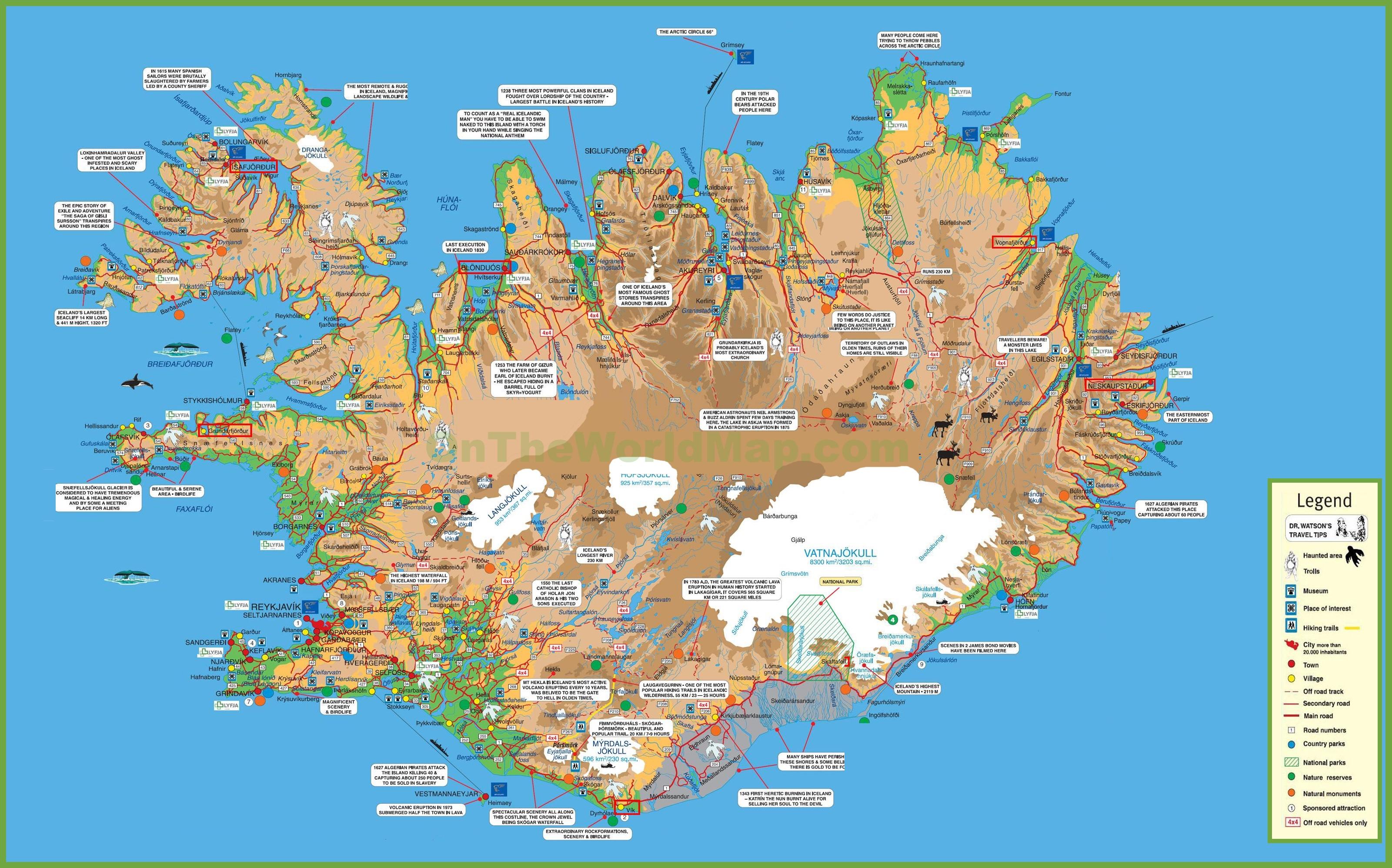 Map Of Iceland Travel map of Iceland Map Of Iceland