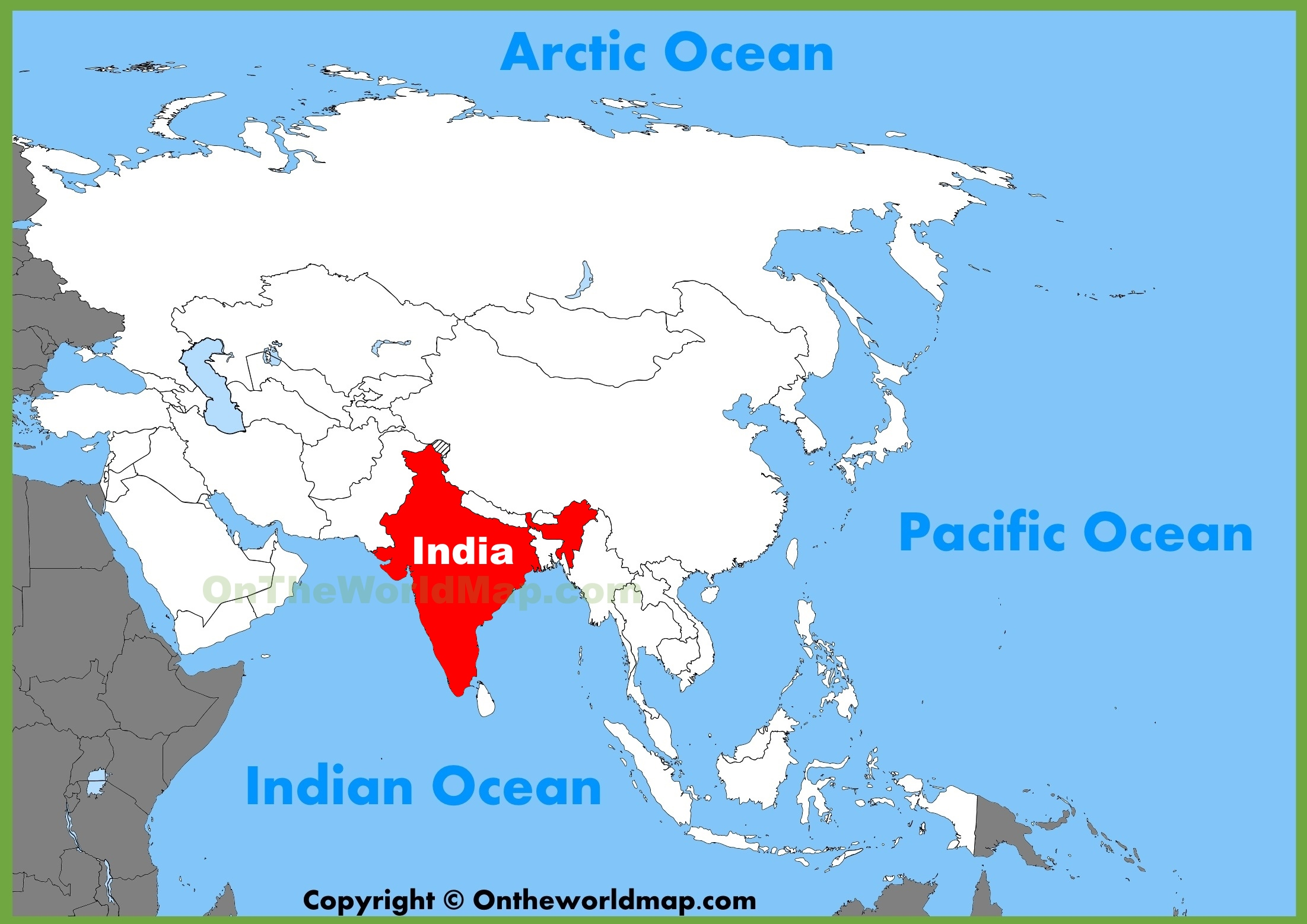 Where Is India On The Map India location on the Asia map