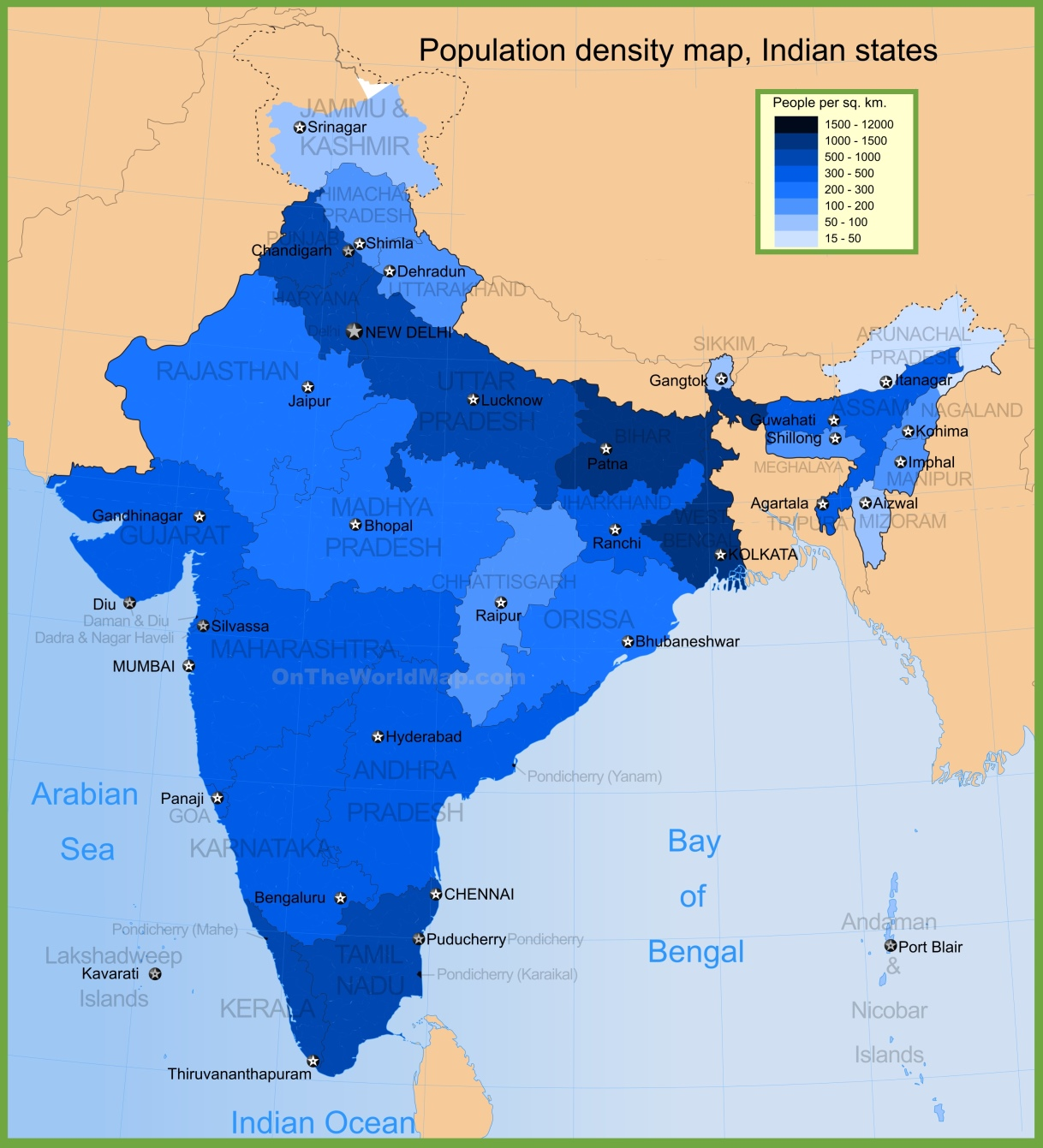 India maps maps of india india population density map gumiabroncs Images