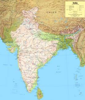 Large detailed map of India
