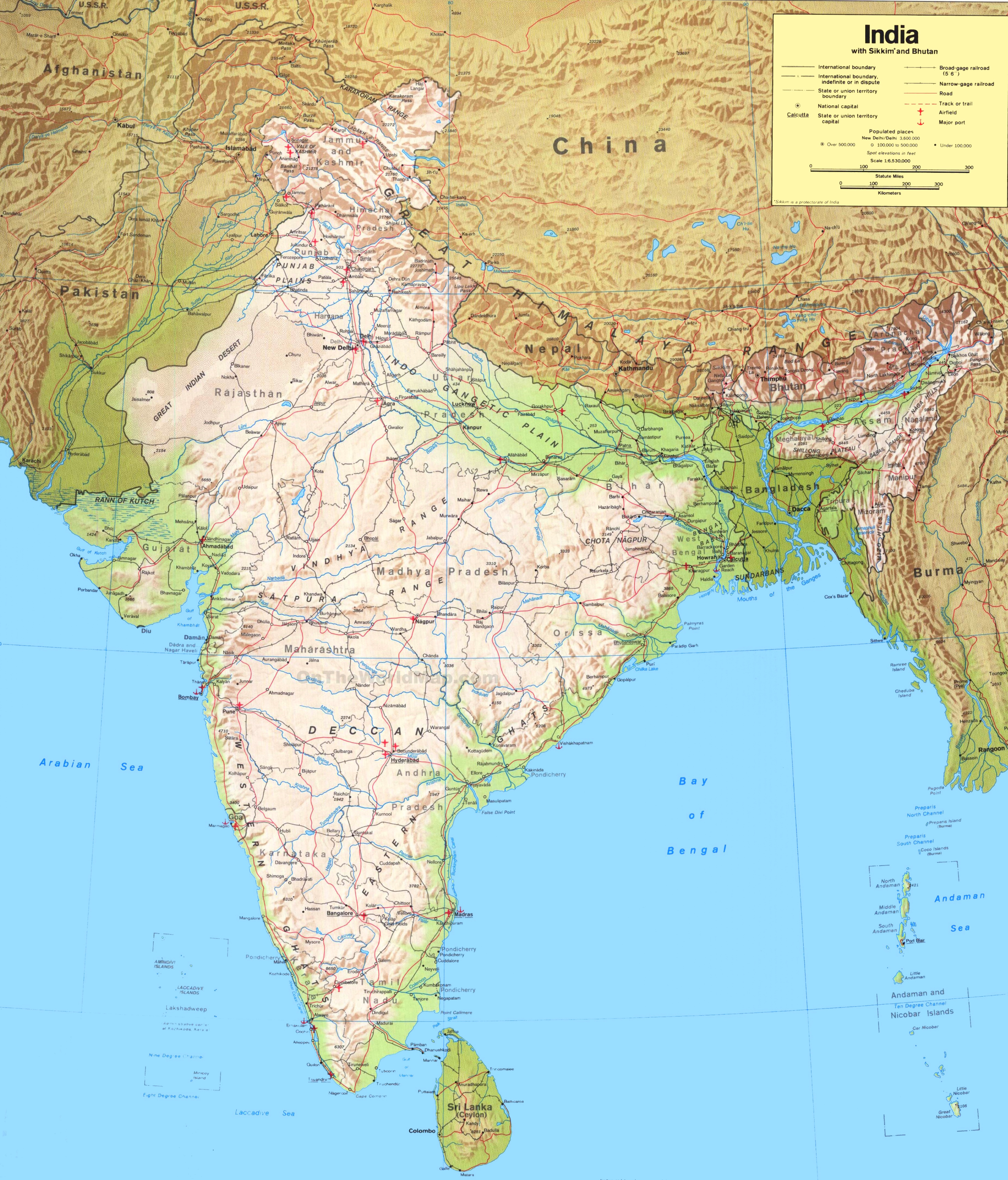 Detailed Map Of India Large detailed map of India