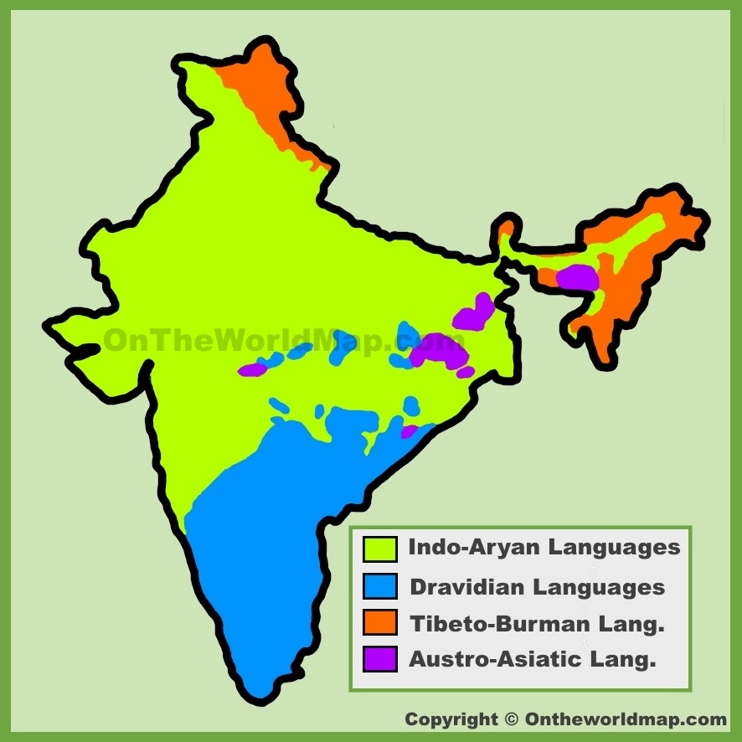 Map of languages in India
