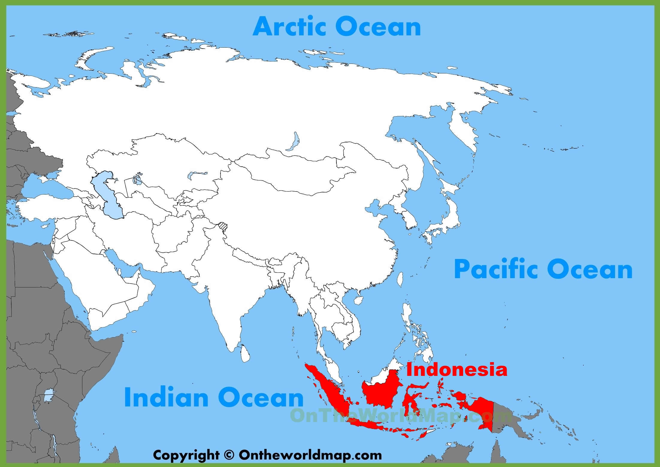 Indonesia On A World Map Indonesia location on the Asia map