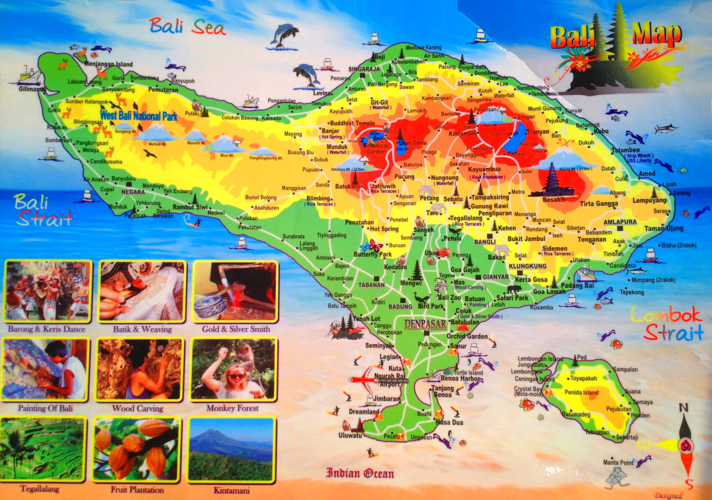 Bali tourist attractions map