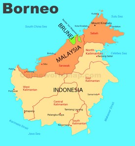 Administrative divisions map of Borneo