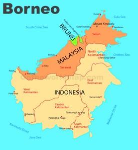 Administrative divisions map of Borneo