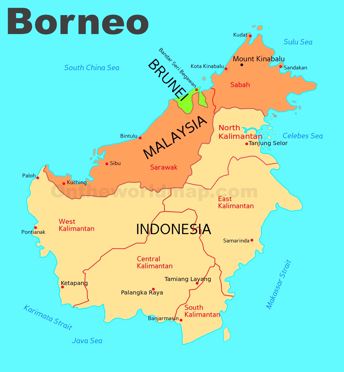 Map Of Borneo Administrative divisions map of Borneo