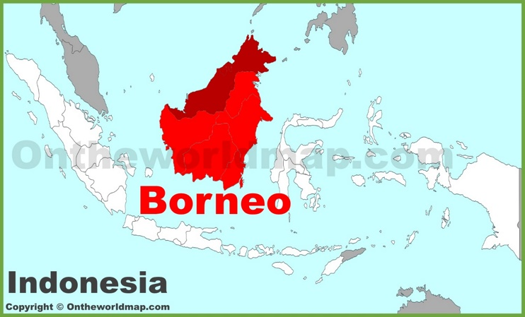 Borneo location on the Indonesia map