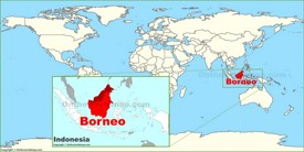 Borneo on the World Map