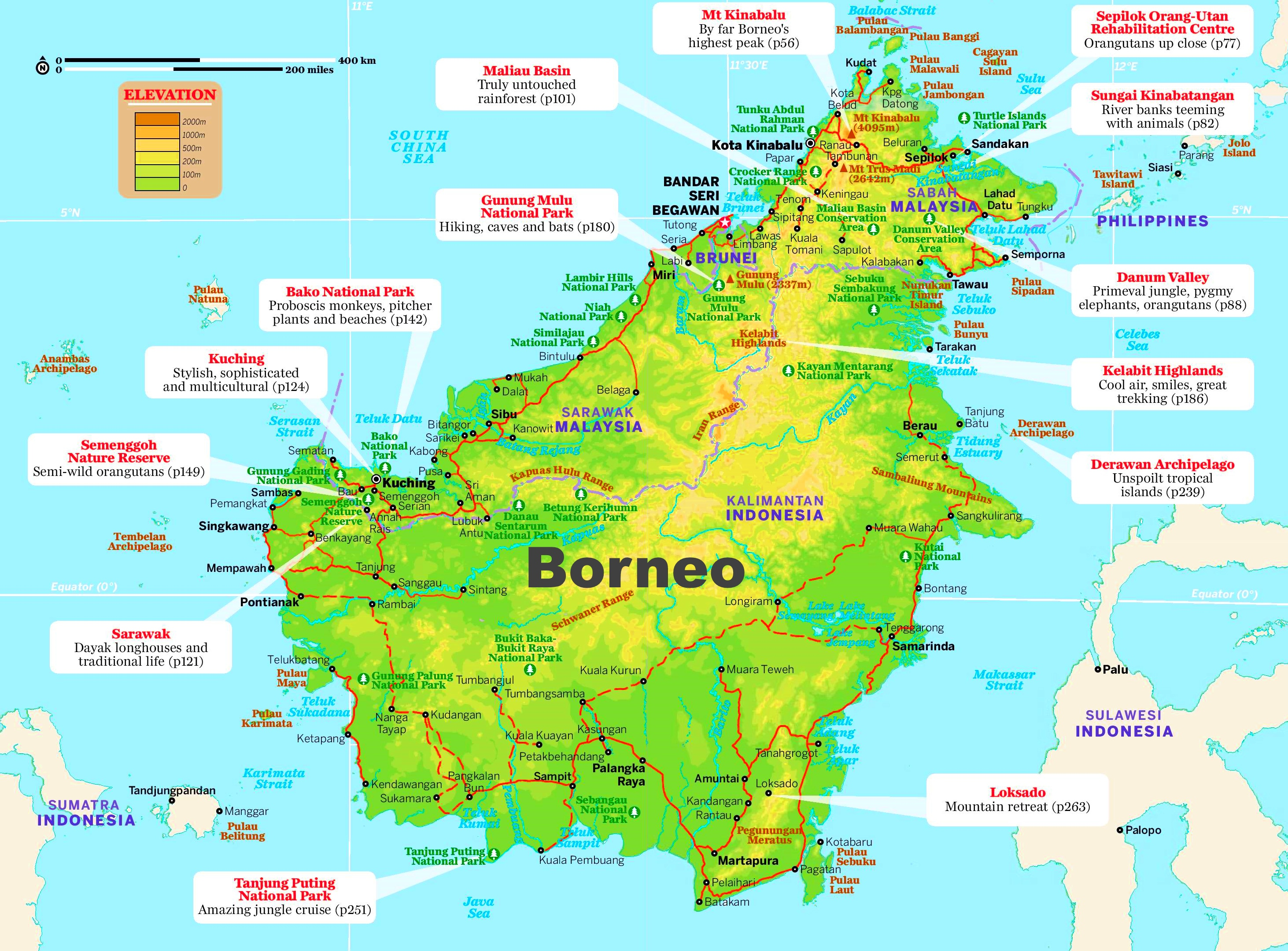 Borneo tourist map