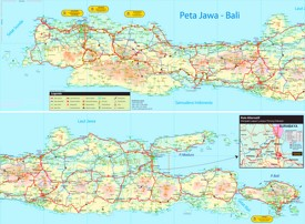 Large detailed tourist map of Java