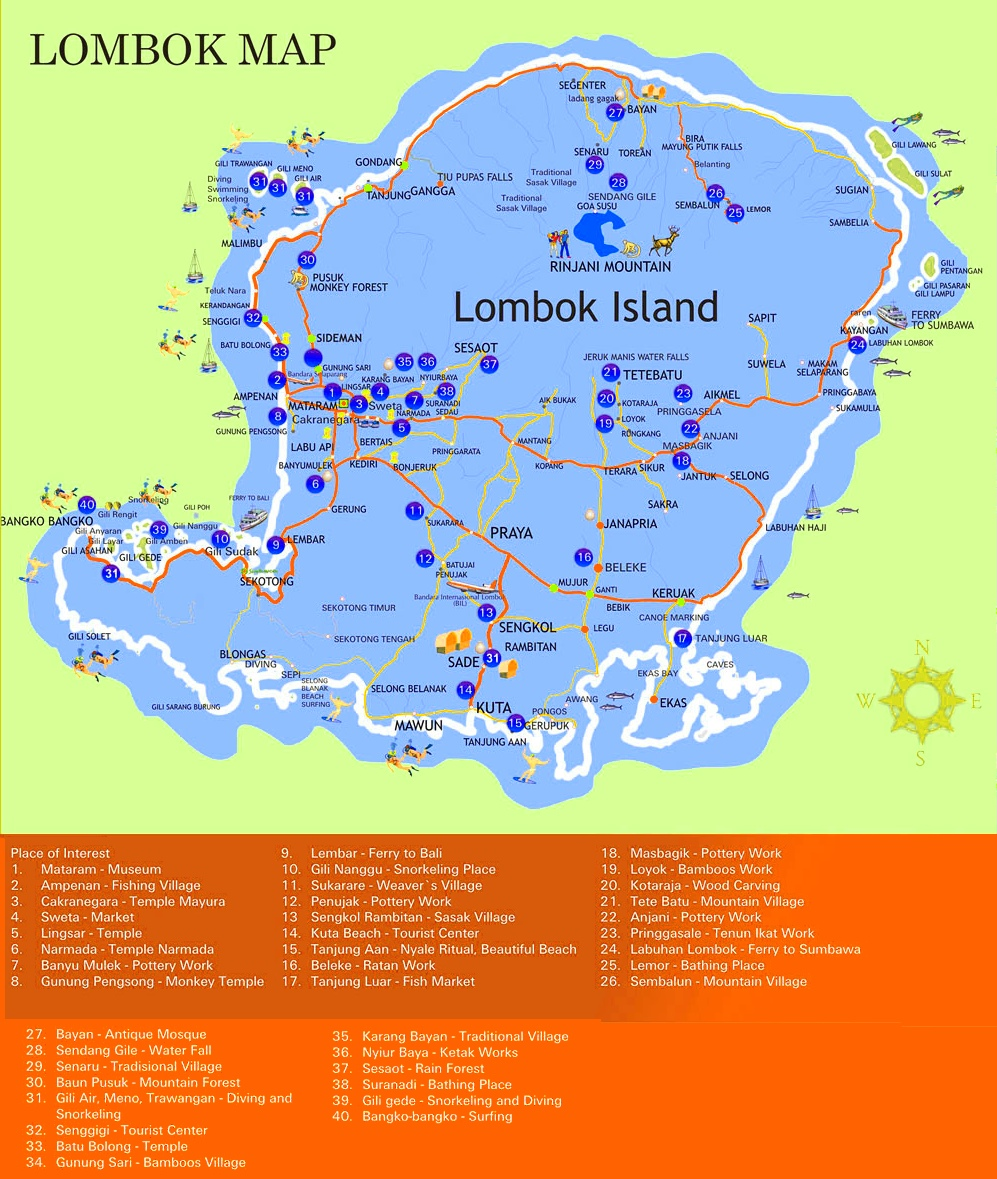 Lombok sightseeing map lombok sightseeing map gumiabroncs Gallery