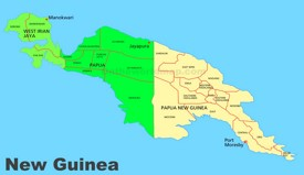 Administrative divisions map of New Guinea