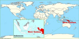 New Guinea on the World Map