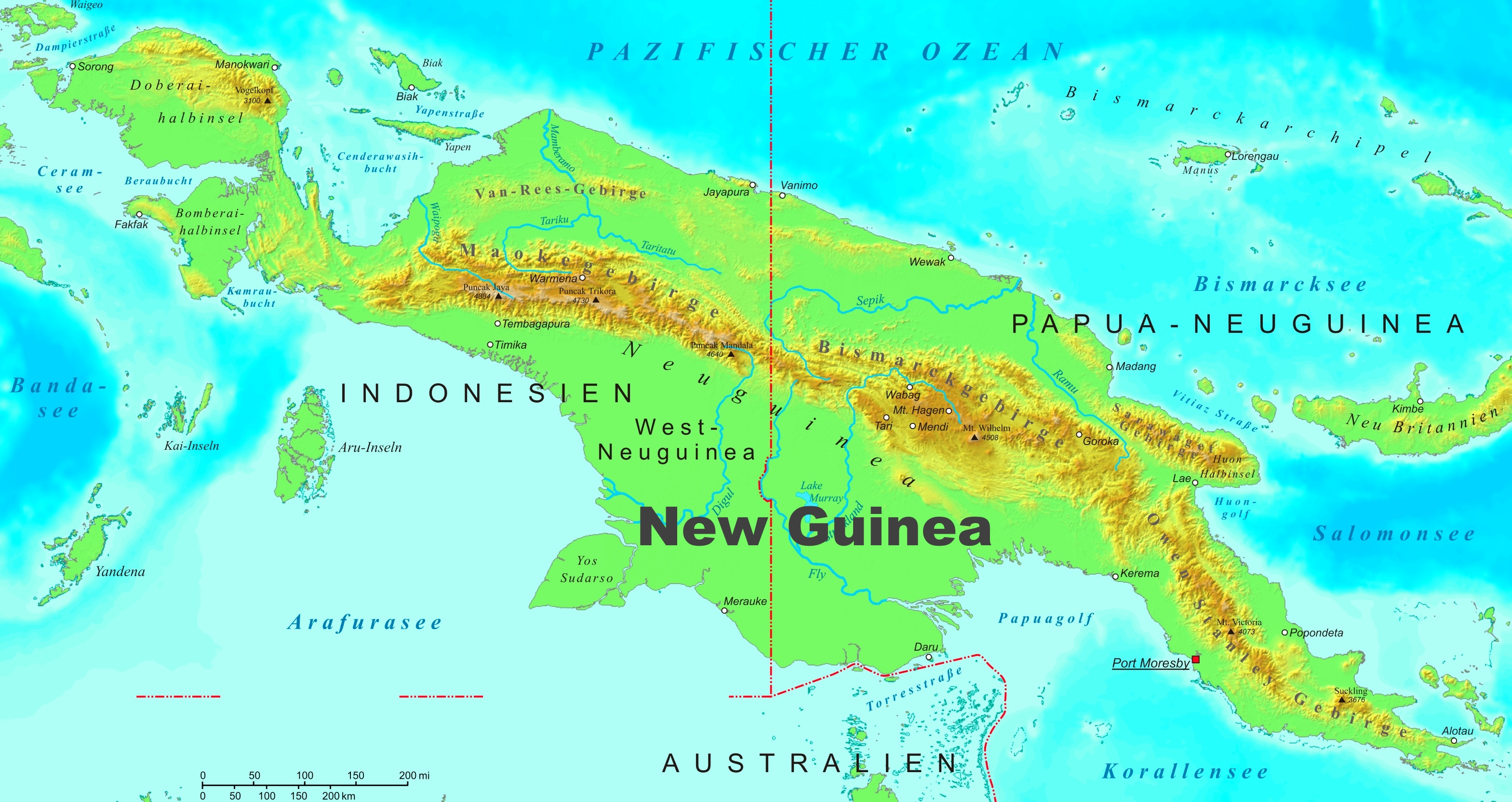 New Guinea Map New Guinea physical map