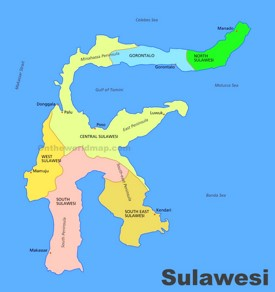 Administrative divisions map of Sulawesi