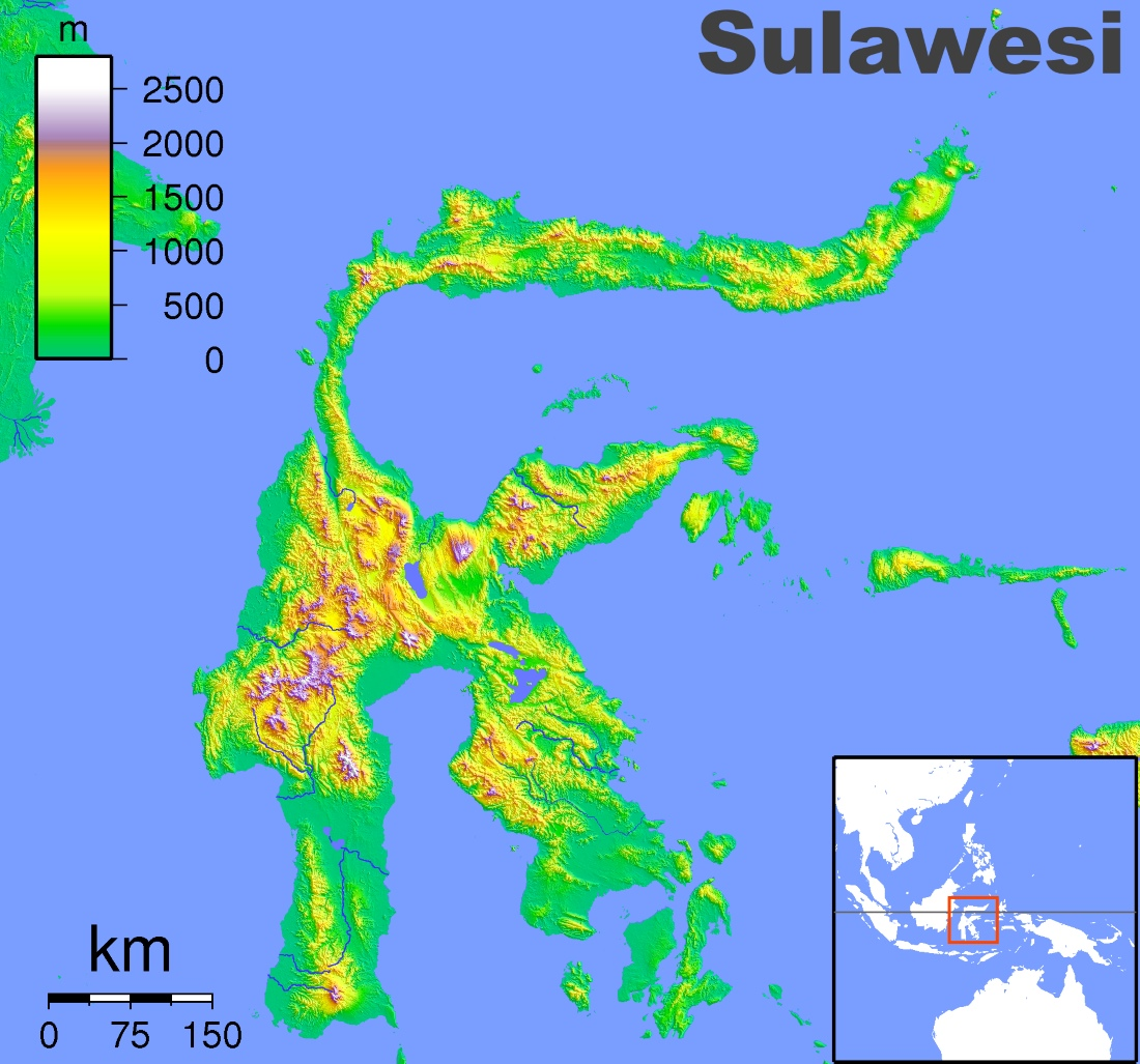 Sulawesi physical map