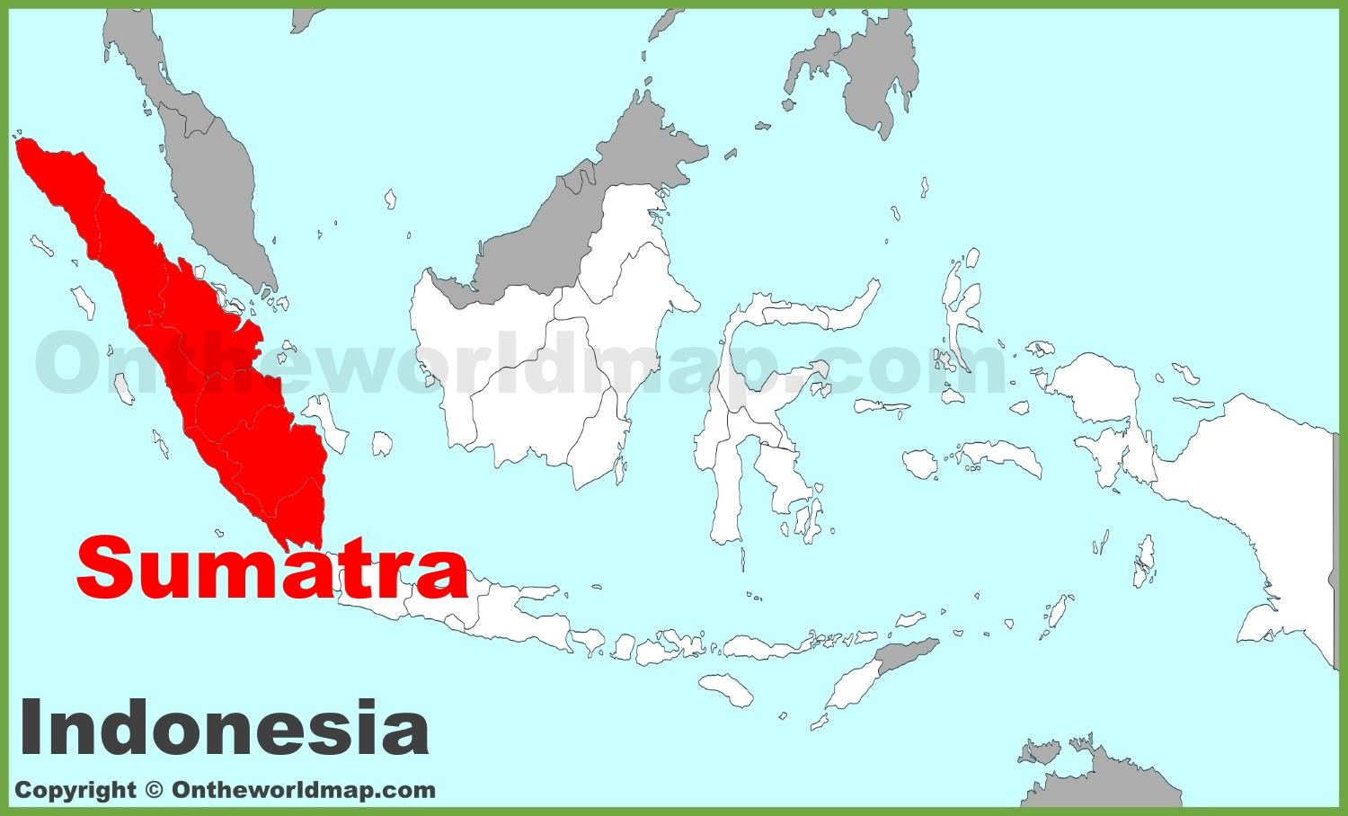 Sumatra location on the Indonesia map