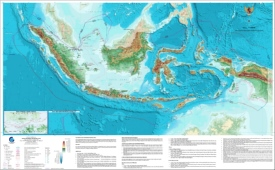 Large detailed physical map of Indonesia