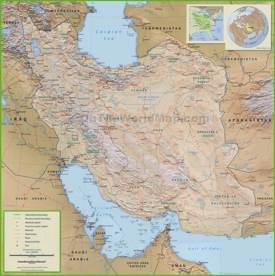 Large detailed map of Iran