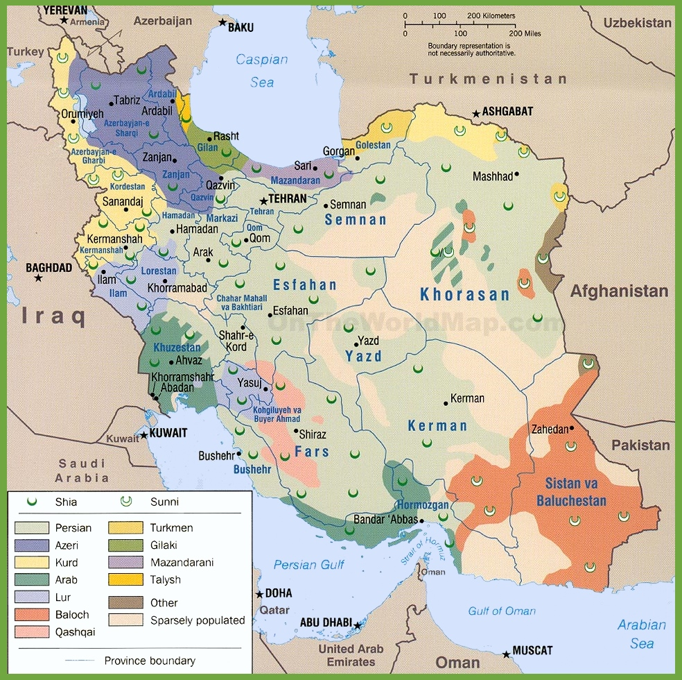 Map of ethnic groups in Iran